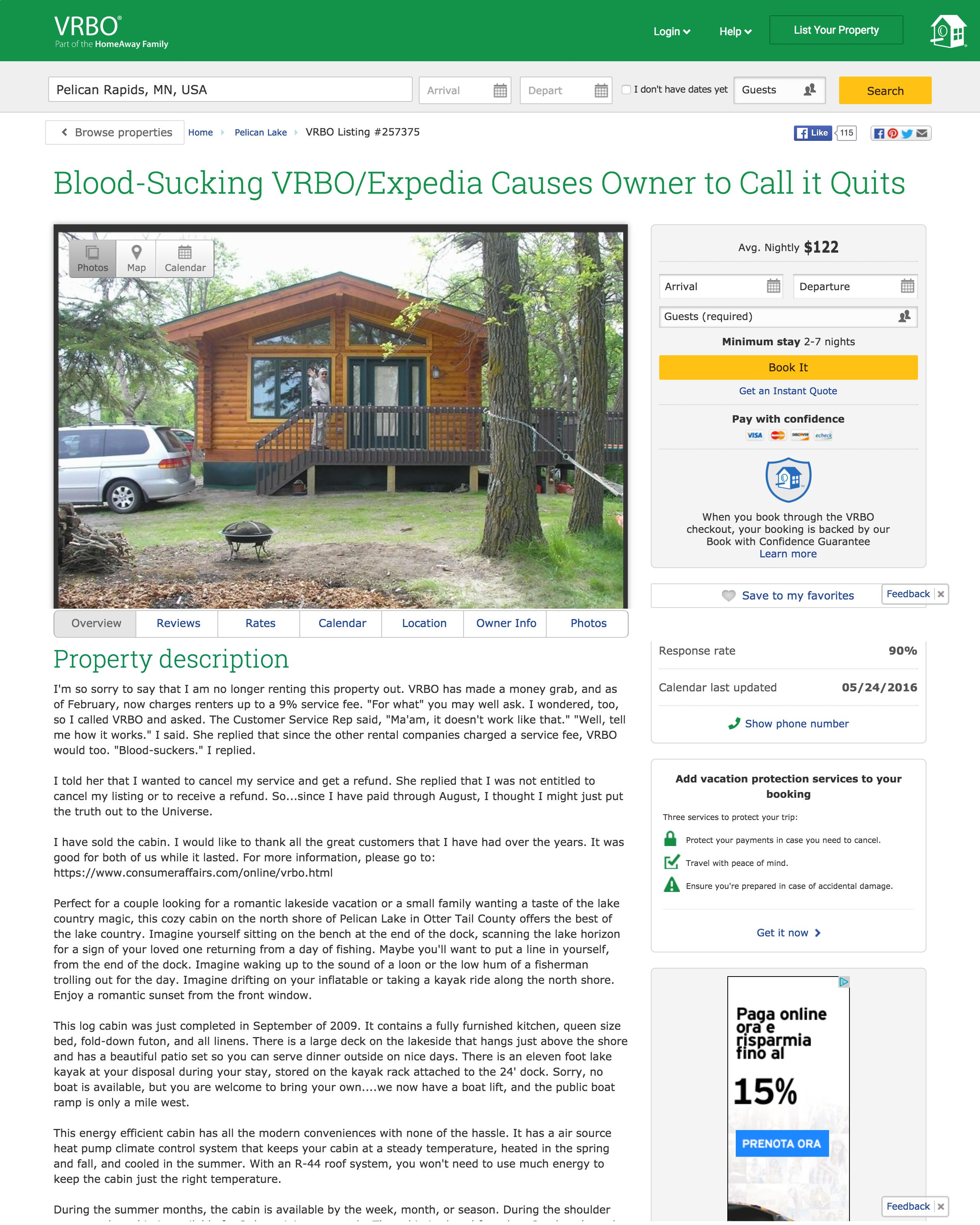 BloodSucking VRBOExpedia Causes Owner To Call It Quits